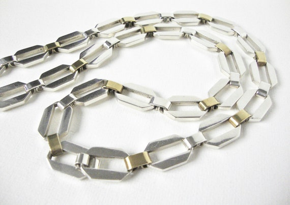 Reserved For Linda Vintage Sterling Silver Long Large Link Necklace With Gold Tone Trim Made In Mexico