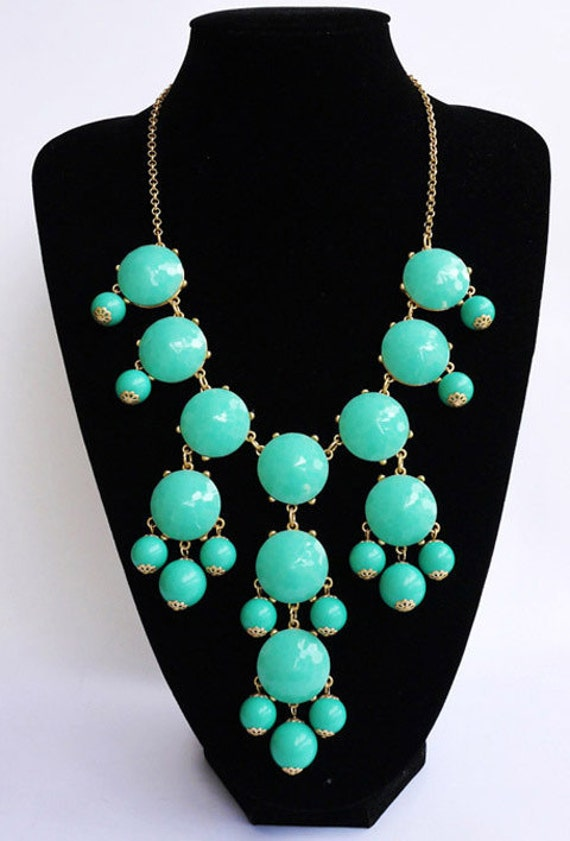 New Fashion Jewelry Sale Bubble Bib Statement Necklace - Turquoise