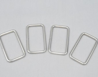 20 Silver 1.5 Inch (38mm) Zinc Alloy Rectangle Rings