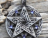 Pewter Double Pentagram Celtic Pagan Pentacle Pendant with Swarovski Crystal Lavender Tanzanite JUNE Birthstone (56I)