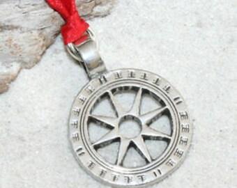 Pewter Wheel of Life Tibetan Buddha Yoga Namaste Meditation Christmas Ornament and Holiday Decoration (31I)