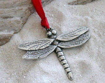 Pewter Dragonfly Fairy Christmas Ornament and Holiday Decoration (323)