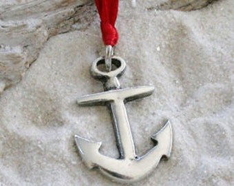 Pewter Anchor Nautical Navy Christian Christmas Ornament and Holiday Decoration (39G)