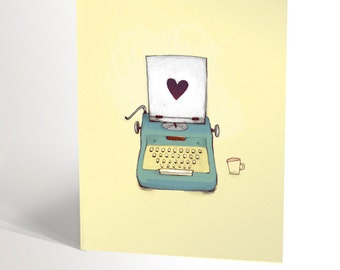 Birthday card with vintage typewriter illustration | retro drawing | yellow and turquoise | literature lovers | 4,25'' X 5,5''