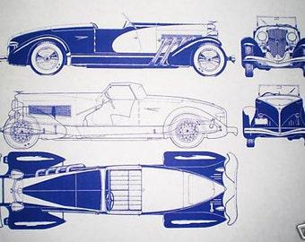 1926 Dusenberg Automobile Blueprint