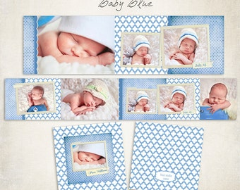 3x3 WHCC Accordion Album Template for Photographers - Baby Blue - ID017, Instant Download