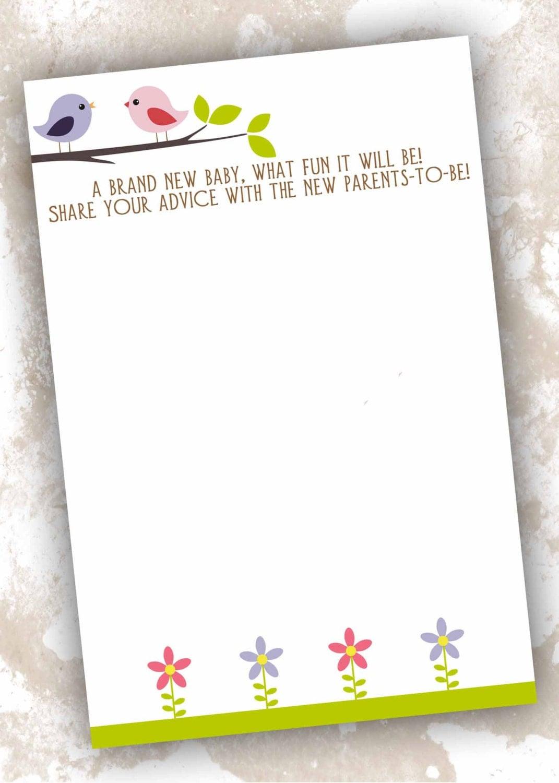 baby shower advice card bird theme by primroseandpark