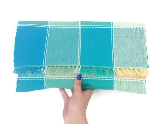 SALE Oversized Clutch - Upcycled Blue Green Yellow Plaid