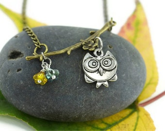 Wise Owl Necklace, Whimsical Nature Woodland Rustic Cute Animal Bird of Prey Mythical Creature Hoot Graduation Jewelry