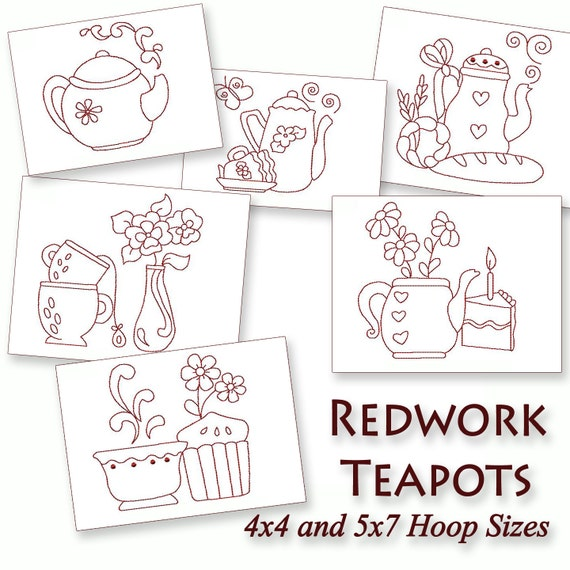 Kitchen Teapots Redwork Machine Embroidery By Stitchxembroidery