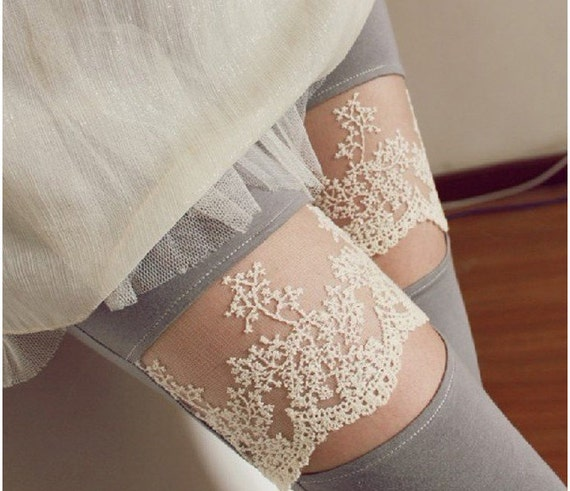 Gray Lace Detail Leggings