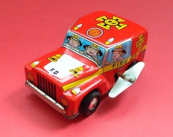 Vintage Tin Toy Car Jeep Fire Chief Japan 1960's Wind-up