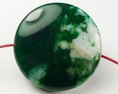 Green Moss Round Pattered Agate Pendant Bead - 27x10mm