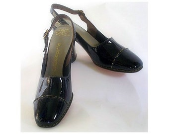 1960s  Shoes By Florsheim Deadstock  Patent Leather Pumps Stilluetos Pinup Bombshell Dress Garden Party Rockabilly Mad Men Wedding