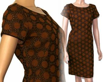 Vintage 1950s Dress Designer PF Knit Wiggle Rockabilly Garden Party Mad Men Couture Pinup Bombshell Hourglass Femme Fatale Designer