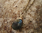 Labradorite Necklace-Petite Gemstone-14K Gold Fill-Bridal-Blue Green Stone