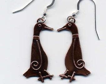 Running Duck Earrings in Copper Finish