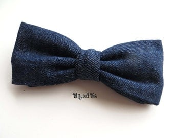 Men's Blue Denim Bow Tie, For Teen, Boys, Girls, Toddlers In 100% Cotton Twill Famous Maker Denim For Fall Fashion Trend