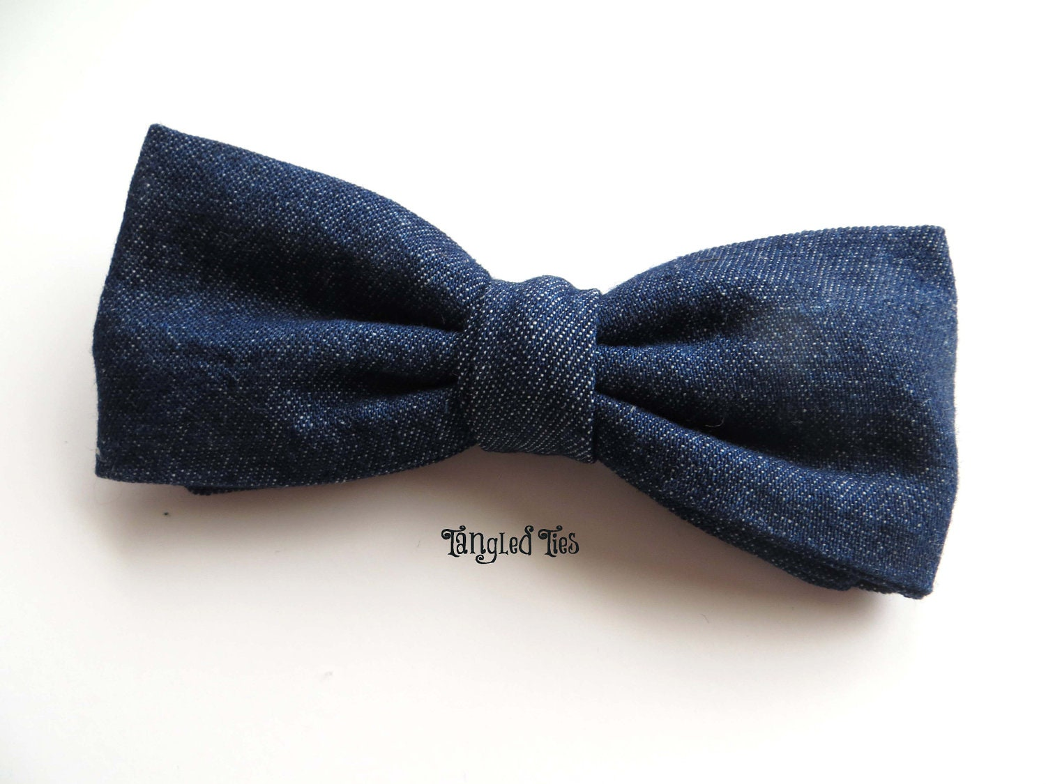 s blue denim bow tie for boys toddlers