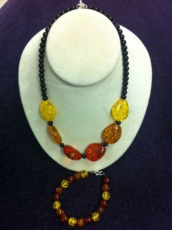 Yellow, Orange, Red, and Black Beaded Bracelet and Necklace Set