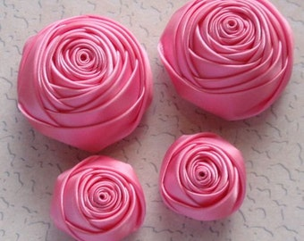 4 Handmade Rolled Roses (2 inches,1-1/4 inch) in Hot Pink  MY-060-21 Ready To Ship