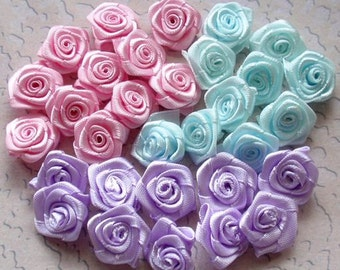 30 Small Handmade Ribbon Roses (5/8 inches) In Pink, Lavender, Aqua MY-66-02 Ready To Ship (On Sale)