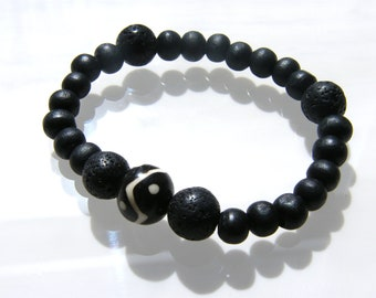 Unisex Prayer Bracelet - African Bone Bead with lava and wooden beads
