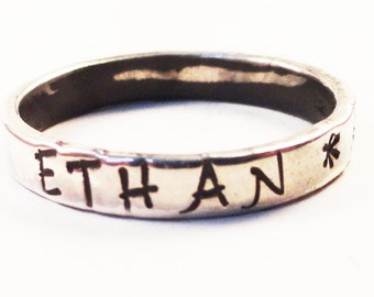 Stacking Ring in Sterling Silver, 3mm - Handstamped  RP1004