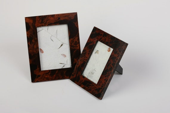 set of two beautiful mango wood picture frames 5x7 4x6photo. Black Bedroom Furniture Sets. Home Design Ideas
