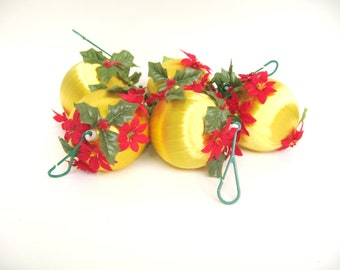 Vintage Satin Wrapped Christmas Ornaments Yellow with Red and Green Accents