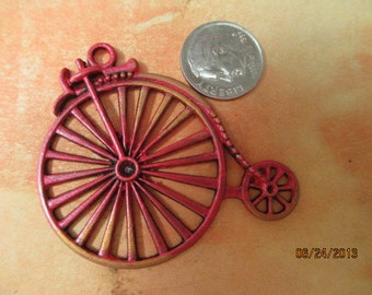 Painted Red Old Fashioned Bicycle with gold patina highlights for Jewelry Making