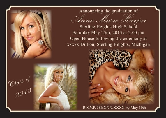 "Graduation Announcement  or invitation ""printable"""