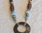 Circular Tropical Wood Pendant Turquoise StoneTortoise Shell Wood Beads Gold Chain