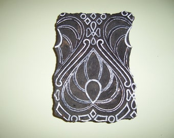 Hand Carved Antique India Wood Block Stamp