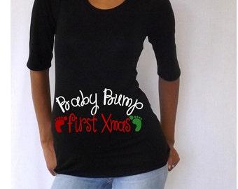 "Christmas Maternity Shirt/Tee/Top "" Baby Bump First Xmas""   cute maternity shirt for Christmas- S015"