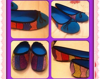 Crystallised turquoise dolly shoes