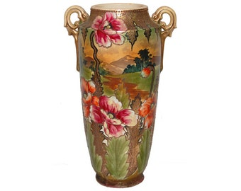 RARE Nippon Hand Painted Scenic and Floral Handled Vase