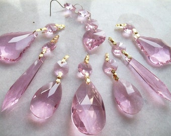 Pink Chandelier Crystal Set Pink Crystal Teardrops Icicles French Cut Hearts Shabby Chic Chandelier Crystal Prisms