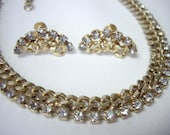 Vintage Rhinestone Hammered Chain Necklace Earring Demi Parure