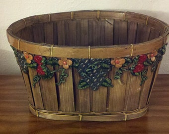 Beautiful Basket with Floral Design