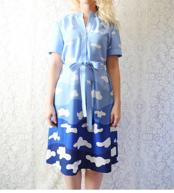 vintage blue & white cloudy day dress