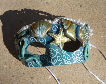 Mermaid mask, Sea shells, aqua,  beach, Costume mask, Masquerade ball, hand painted, blue, green, white