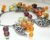Colorful Beaded Bracelet Dangle Orange Purple Yellow Green Beads