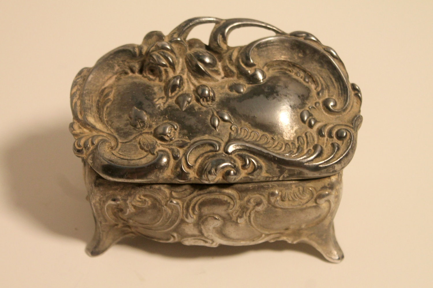 Antique Jennings Brothers Silver Jewelry Box By