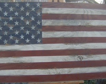 """Vintage look Distressed American Flag Wall decor/46""""/patriotic/red whit blue"""