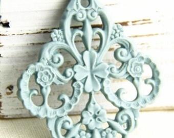 6 pcs of german filigree charm 0289-45x55mm-38-powder blue
