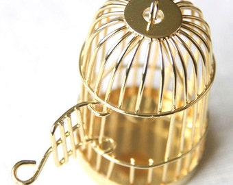 6 pcs Of metal bird cage pendant 28x28x35mm-18k gold-MP1009-11