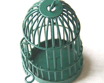 6 pcs Of metal bird cage pendant 28x28x35mm-MP1009-green