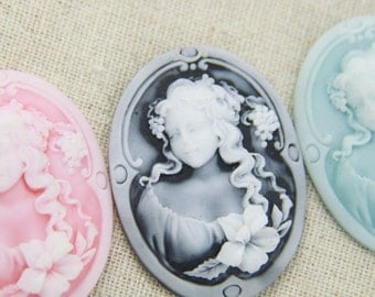 6 pcs of  3 color of resin cameo 30X40mm-RC0145- A Grade