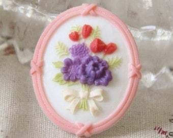 6 pcs of resin cameo with flower bouquet-35x43mm-RC0341-5-pink edge